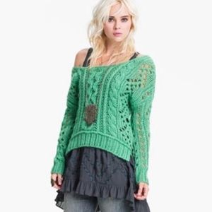 Free People Mint Fluff Cable Knit Sweater